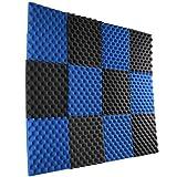 12 Pack- Ice Blue/Charcoal Acoustic Panels Studio Foam Egg Crate 1