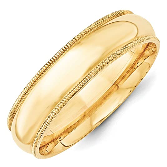 14ct Yellow Gold 6mm Milgrain Comfort Fit Band Ring - Ring Size Options Range: H to Z