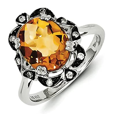 Sterling Silver Citrine and Diamond Ring - Ring Size Options Range: L to P