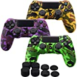 MXRC Silicone rubber cover skin case anti-slip Water Transfer Customize Camouflage for PS4/SLIM/PRO controller x 3(orange & green & purple) + FPS PRO extra height thumb grips x 8 (Color: Print 3 Pack Orange Green Purple, Tamaño: Print Pack)