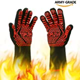 BBQ Grill Gloves [NEWEST] 1472? EN407 CE Heat Resistant - Oven Silicone Glove Fireproof for Smoker Baking - High-temp Barbecue Grilling Potholders - Heat-insulated Cooking Mitt, X-Long (Red) (Color: Red, Tamaño: 6.2