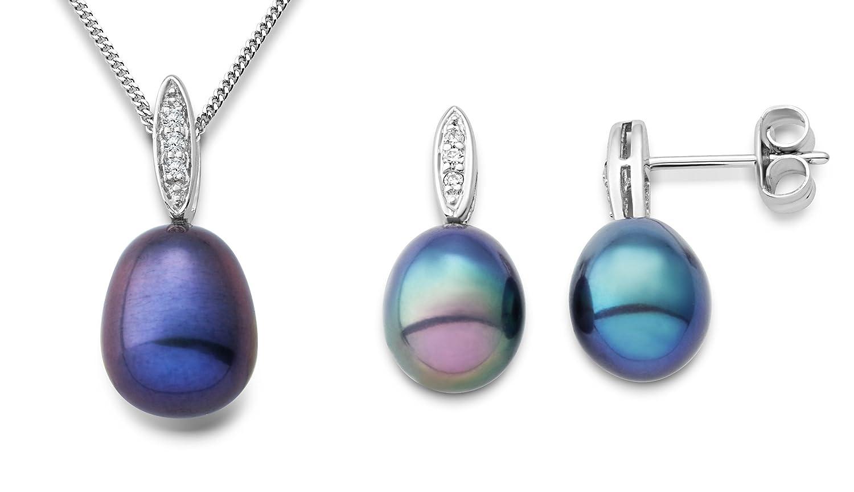 Miore Damen-Set: Halskette + Ohrringe Süßwasser-Zuchtperlen und Diamant 9 Karat 375 Weißgold MSET017 günstig bestellen