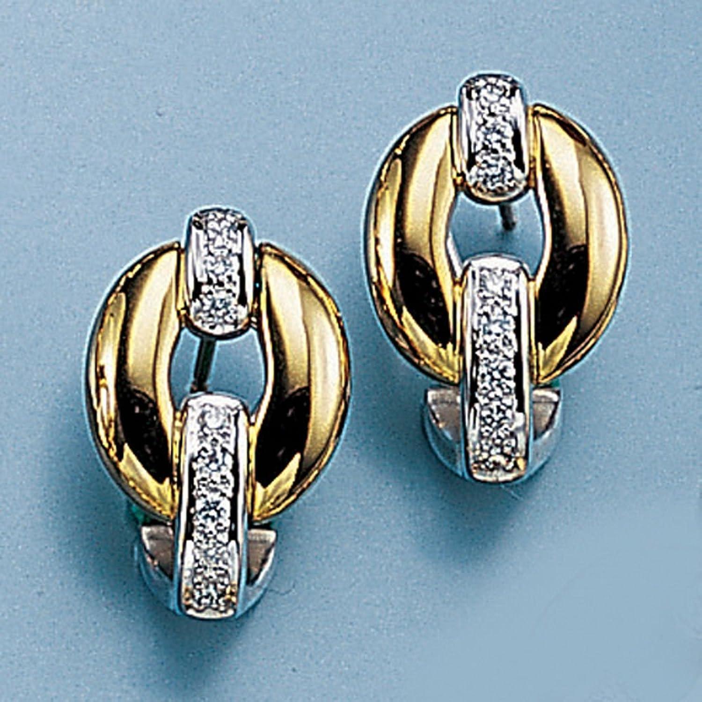 Damen Gold Ohrstecker / Ohrringe 585 Gold Gelbgold Weißgold 16 Diamanten Brillanten günstig kaufen
