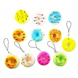 yueton Pack of 5 Kawaii Donut Squishy Bread Cell Phone Charms Key Chains Straps (Randomly Styles Sent)