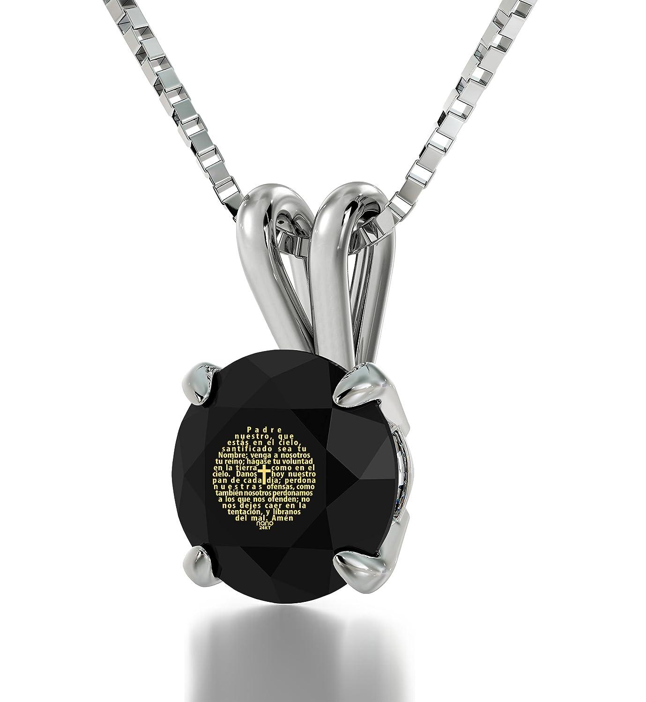 Christlicher Schmuck - Silberne 'Vater Unser' Halskette, Moderne Bibelversion ist in 24k Gold auf schwarzen Zirkonia-Anhänger geschrieben - Religiöse Weihnachtsgeschenke