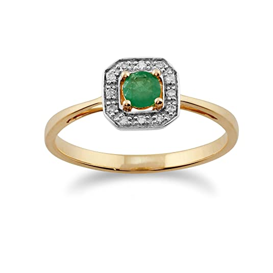 Gemondo Emerald Ring, 9ct Yellow Gold 0.20ct Emerald & Diamond Ring