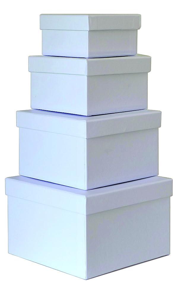 Cypress Lane Square Rigid Gift Box, a Nested Set of 4, 3.5x3.5x2 to 6x6x4 inches (White) (Color: White, Tamaño: 4x4x2, 5x5x3, 6x6x4, 6.5x6.5x4.5)