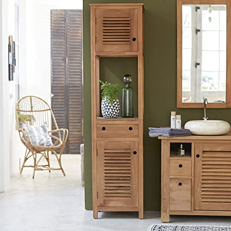 Solid Natural Teak Wood Bathroom Cabinet Tower Storage Drawer Design 190cm