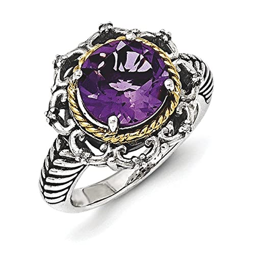 Sterling Silver With 14ct Antiqued Amethyst and Diamond Ring - Ring Size Options Range: L to P
