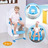 GPCT [Portable] 3-in-1 Kids Toddlers Potty Training Seat W/Step Stool. Sturdy, Comfortable, Safe, Built in Non-Slip Steps W/Anti-Slip Pads. Excellent Potty Seat Step Trainer- Boys/Girls/Baby- Blue (Color: Blue)