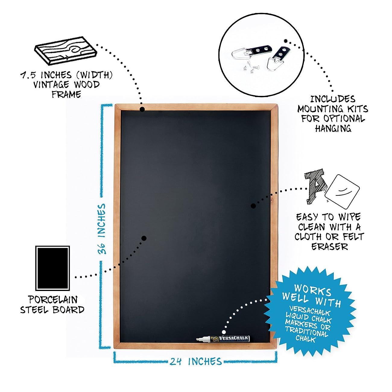 Vintage Wooden Framed Magnetic Chalkboard Sign - 24x36