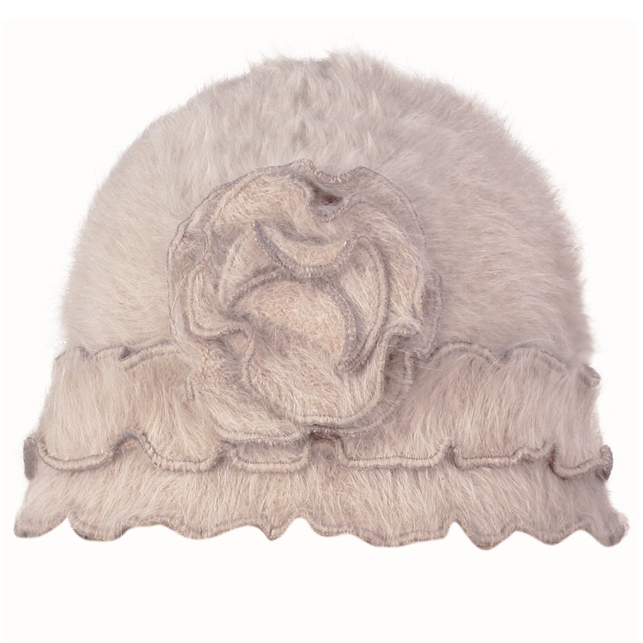 Super Soft Angora Classic Flower Ruffle Laciness Knitted Beanie Cap Hat