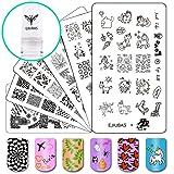 Ejiubas Nail Plates Stamping Set Image Nail Art Tools, 3Pcs Nail Stamp Plates + 1 Stamper +1 Scraper Nail Stamping Kits (Color: Stamping plates & Stamper set)