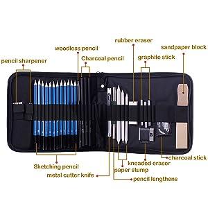 H & B Sketching Pencils Set Drawing and Sketch Kit 33-Piece Set with Pencils,Erasers,Graphite Stick,Sandpaper Block,Pencil Sharpener (Color: Grey, Tamaño: 33-piece)
