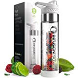 Infusion Pro Premium Fruit Water Bottle Infuser - White Sport 1 Pack - 24 oz BPA Free Durable Tritan Plastic - Free eBook Recipe Guide - Sleek Flip Top Lid with Base Infused Dual Opening (Color: White, Tamaño: 1-Pack)