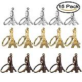 Mydio 15 Pack Eiffel Tower Keychain Key Ring,French Souvenir Paris Keychain