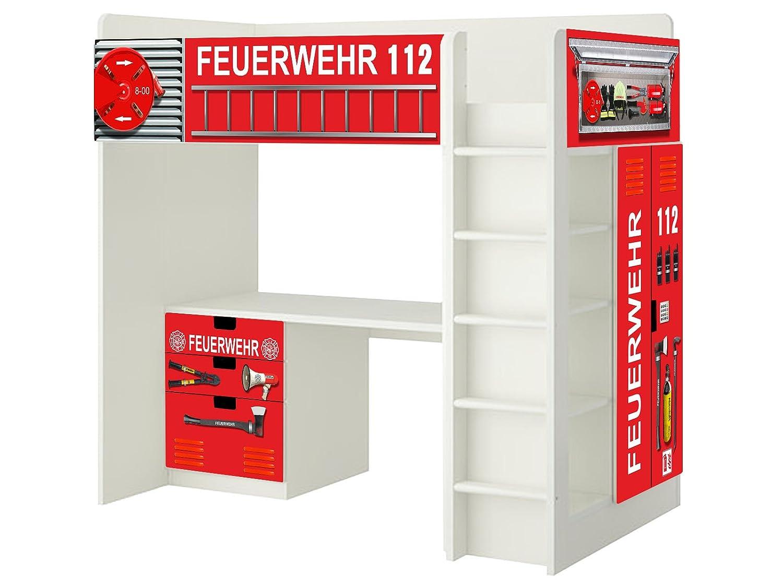 Feuerwehr Aufkleber – SH01 – passend für die Kinderzimmer Hochbett-Kombination STUVA von IKEA – Bestehend aus Hochbett, Kommode (3 Fächer), Kleiderschrank und Schreibtisch bestellen