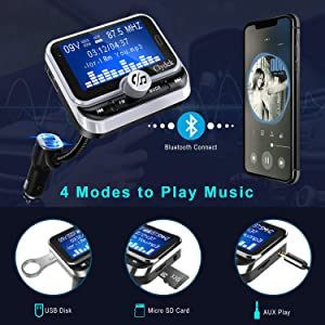 Bluetooth FM Transmitter for Car, Clydek Car Charger Adapter 1.8 Large Display Bluetooth Car Adapter with Remote Control,4 Music Play Modes,Fast Charger,Hands Free,AUX Input&Output