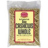Spicy World Bulk Raw Natural Whole Cashews, 5 Pound (Tamaño: 5 Pound)