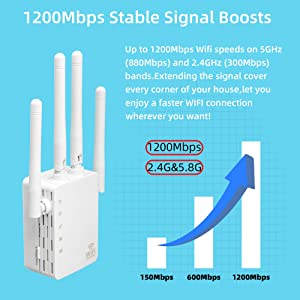 WiFi Range Extender 1200Mbps, Dual Band WiFi Extender Wireless Extender Repeater WiFi Signal Booster 360 Degree Full Coverage WiFi Extender Signal Amplifier (White) (Color: White)