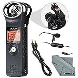 Zoom H1 Portable Digital Audio Recorder Bundle with Lavalier Mic + Cable + Fibertique Cloth