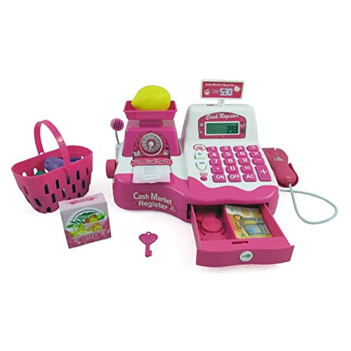 Pink Supermarket Cash Register with Checkout Scanner Weight Scale Microphone Calculator Play Money and Food Shopping Playset for kids
