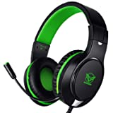 Karvipark H-10 Gaming Headset for Xbox One/PS4/PC/Nintendo Switch|Noise Cancelling,Bass Surround Sound,Over Ear,3.5mm Stereo Wired Headphones with Mic for Clear Chat (Green) (Color: Green)