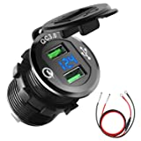 Quick Charge 3.0 Car Charger, CHGeek 12V/24V 36W Dual QC3.0 USB Fast Charger Socket Power Outlet with LED Digital Voltmeter for Marine, Boat, Motorcycle, Truck, Golf Cart and More (Black) (Color: Black, Tamaño: Dual QC3.0 Ports)