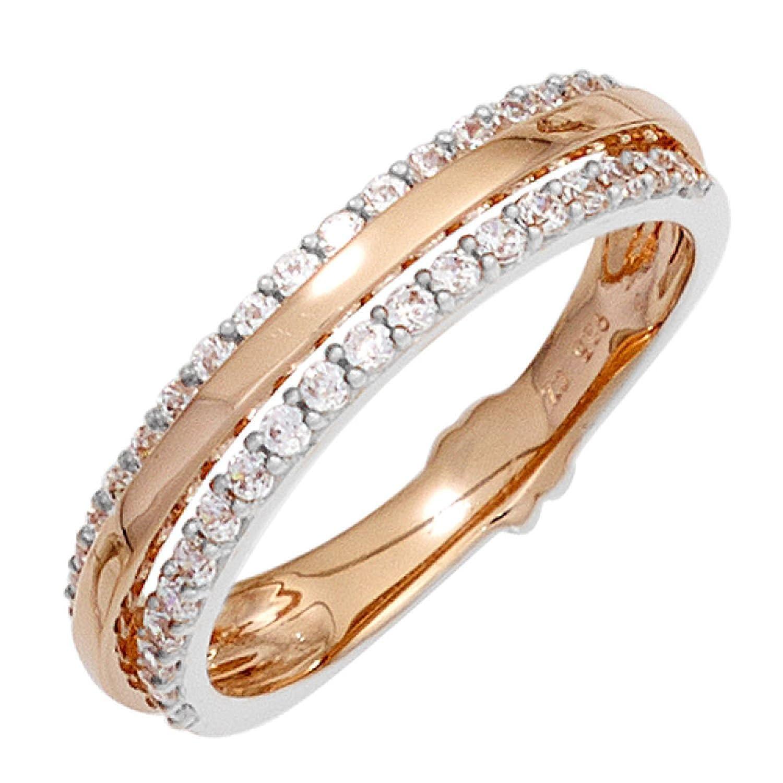 Damen Ring 585 Rotgold teilrhodiniert 38 Diamanten Brillanten online bestellen