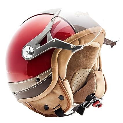 SOXON SP-325 Urban red - Cuir casque JET Vespa moto Cruiser Pilot rouge - Taille: M