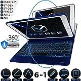 iPad Keyboard Case for iPad 2018 (6th Gen) - iPad 2017 (5th Gen) - iPad Pro 9.7 - iPad Air 2 & 1 - Thin & Light - 360 Rotatable - Wireless/BT - Backlit 10 Color - iPad Case with Keyboard (Blue) (Color: Blue, Tamaño: 9.7)