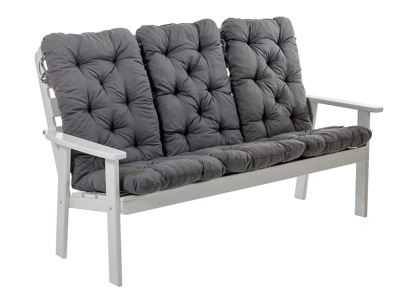 Ambientehome 90395 3-er Bank Gartenbank Holzbank Loungebank Massivholz Hanko Maxi mit Kissen, weiß / grau jetzt kaufen