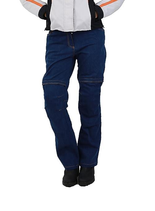 NERVE 24140216_03  Ata Jean Femme de Moto, Bleu, Taille 38