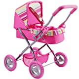 iPlay, iLearn Foldable Doll Stroller with Hood, My First Doll Stroller with Basket and Canopy. Doll Pram, Lightweight Pink Baby Stroller for 2, 3, 4, 5 Year Olds Kids, Baby, Toddlers, Boys and Girls (Color: Pink Stroller, Tamaño: Medium)