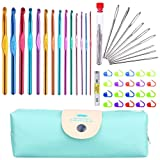 StaiBC Multicolor Aluminum Crochet Hooks Set, Knitting Needles Craft Yarn Plus Large-Eye Blunt Needles Yarn Knitting with Case, USA Standard Sizes 2.0-10.0mms