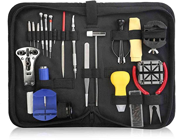 iMounTEK Multi Purpose Professional Watch Repair Tool Kit. Includes Hand/Link Remover, Spring Bar Tool, Loupe, Screwdrivers, Pin Punches, Pliers, More. Includes Free Case- 22 PCS