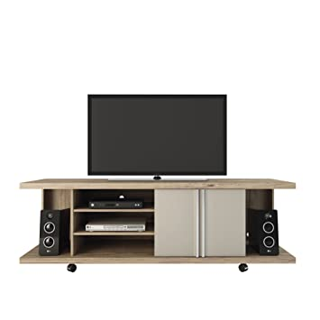 Manhattan Comfort Carnegie 5-Shelf TV Stand in Nature and Nude