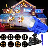 Christmas Projector Lights, LED Projection Lights, IP65 Waterproof Animated Projector Light with Remote Control for Halloween, Party, Thanks Giving, Birthday and Garden Decoration (Color: Blue)