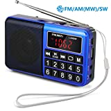 PRUNUS Portable Radio SW/FM/AM(MW)/MP3/USB/SD/TF Rechargeable with Neodymium Speaker. Large Button and Large Display. Stores Stations Automatically. (NO Manual Memory/Delete Stations Function) (Color: Blue)