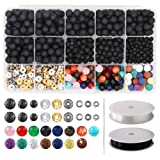752pcs Lava Beads Kit, Lava Stone Rock Beads Chakra Beads Spacers Beads with 2 Rolls Elastic Bracelet String and Needle for Essential Oils Bracelet Necklace Jewelry Making (8mm 6mm 4mm) (Color: Type 1)
