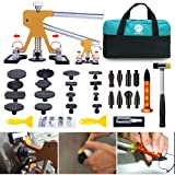 GLISTON Paintless Dent Puller - Golden Dent Puller Kit, 35pcs Dent Remover Tools with Adjustable Width Dent Repair Tools for Car, Pro Strong Viscosity Glue Sticks for DIY Auto Body Dent Repair (Tamaño: Large Kit)