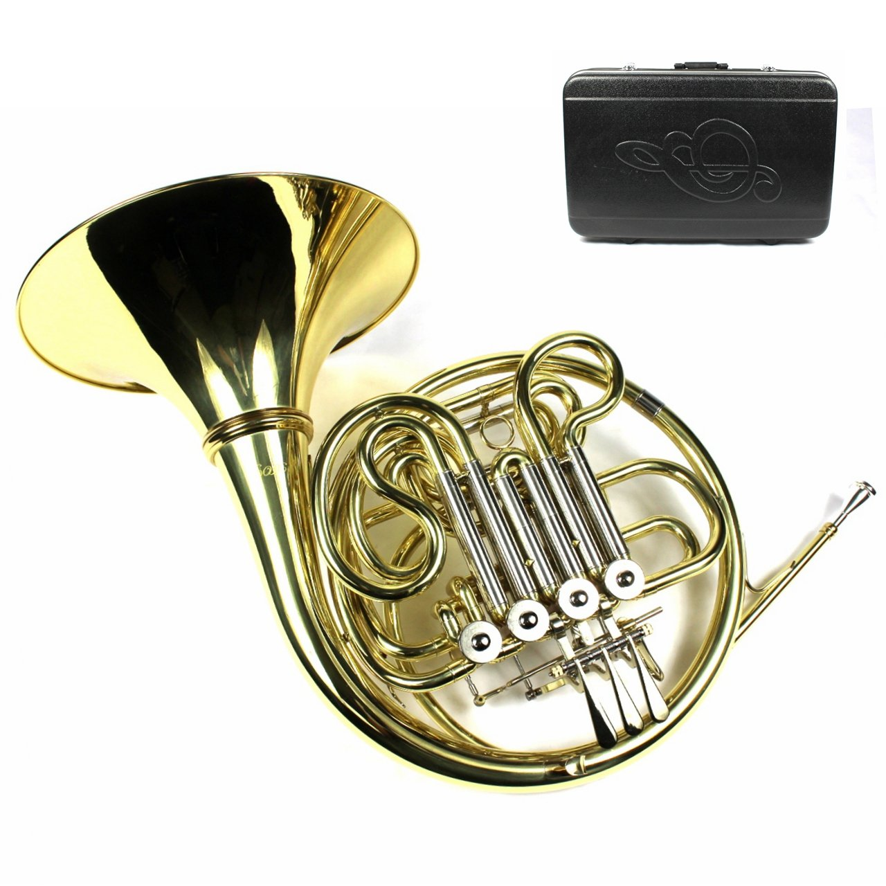 Monel Rotors Bb/F 4 Keys Double French Horn w/Case & Mouthpiece-Gold Lacquer Finish professional new silver plated trumpet bb keys with monel valves horn case