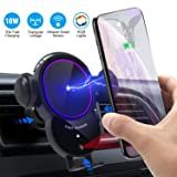 [Upgraded]Wireless Car Charger Mount-Triangle Linkage Automatic Clamping 10W Qi Fast Charging Air Vent Phone Holder,Infrared Sensing Compatible with iPhone 11 Pro Max Xs XR X 8,Samsung S10 S9 Note 10