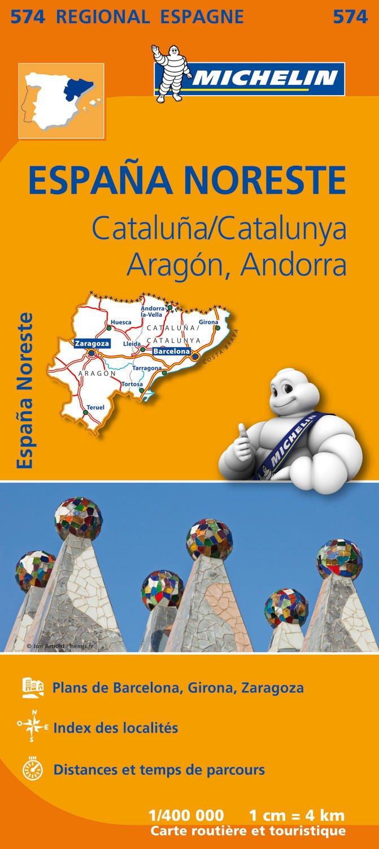 Carte Espagne Catalogne, Aragon, Andorre Michelin