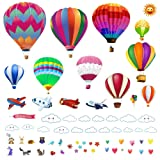 Hot Air Balloons Wall Decals Stickers: Precut Decorative Vinyl Peel and Stick Hot Air Balloon Classroom Decorations Wall Art Mural for Childrens Bedroom, Baby Nursery and Playroom (Color: Assorted)