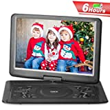 QKK Upgraded Version 15.4 Inch Portable DVD Player with 6 Hours Build-in Rechargeable Battery, 270°Swivel Screen, 5.9 ft Car Adapter, Supports Region Free, USB Port and SD Card (Black) (Color: Black, Tamaño: 15.4 Inch)
