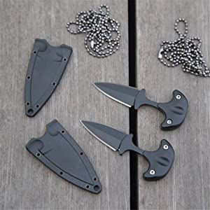 GLQ EDC Mini Double Edge Dagger,Fixed Blade Neck Knife for Hunting Camping Fishing and Field Survival-Stainless Steel Fixed Blade Tactical Knife -Two color optional (Black) (Color: Black)