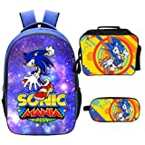 Qushy Sonic Backpack Lunch Box Pencil Case Outdoor School Package (D) (Color: D)