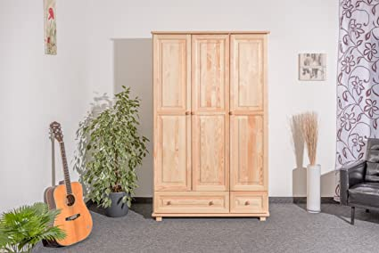 Kleiderschrank Holz natur 015 - Abmessung 190 x 120 x 60 cm (H x B x T)