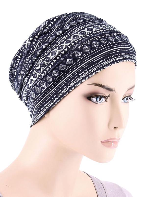 c2b41bec17a Chemo Cap Womens Beanie Sleep Turban Hat Headwear For Cancer In Navy Blue  Aztec